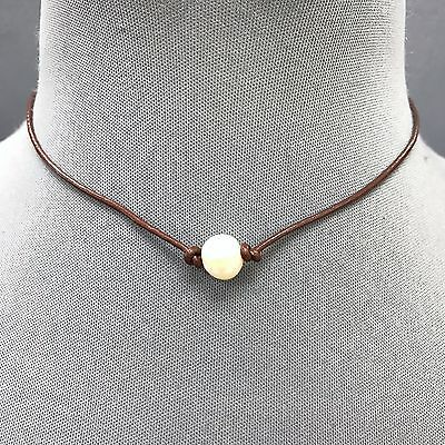 Trendy Fashionable Brown Faux Leather White Pearl Pendant Choker Necklace 1624-7 Pearl Pendant Leather Necklace