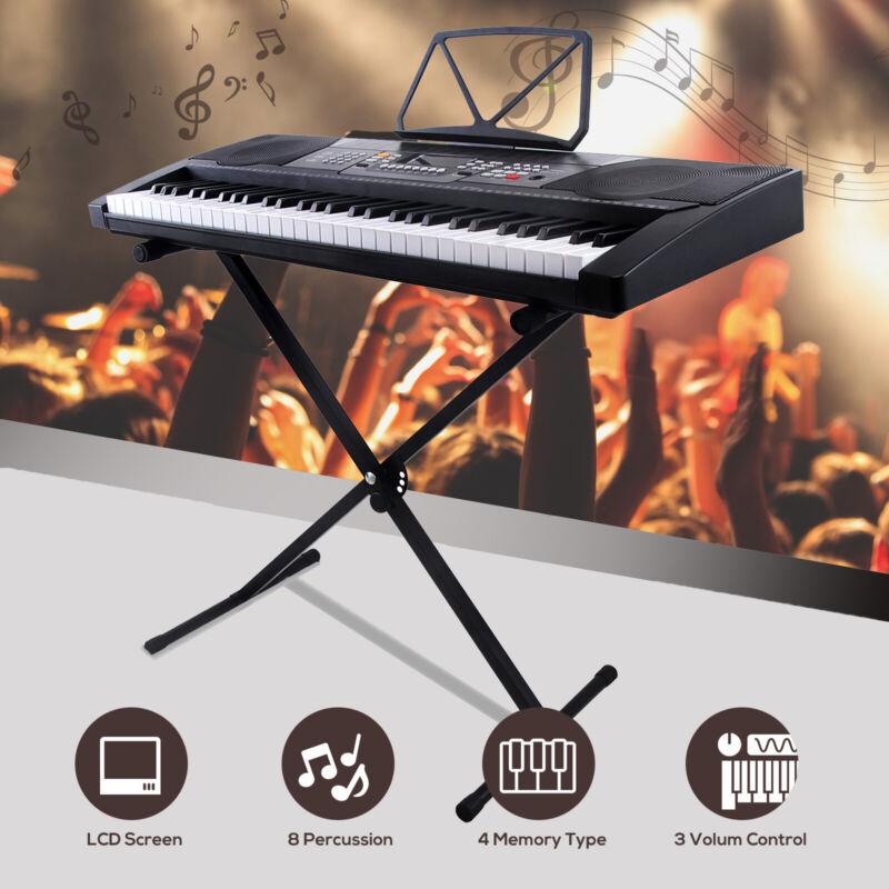 61 Key Music Digital Electronic Keyboard with X Stand Electric Piano Organ Black