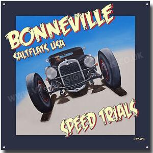 BONNEVILLE-Sal-CARAS-velocidad-Trials-Cuadrado-Letrero-Metal-Americana-Letrero