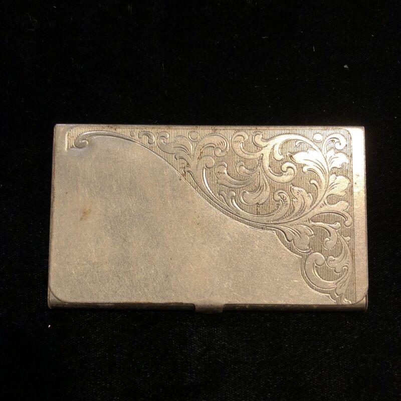 Vintage German Silver Tone Engraved Business Card Case Holder (Dent On Back)