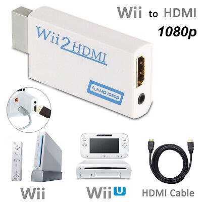 For Wii to HDMI 720P 1080P HD Video White Converter Adapter Upscaling+HDMI...