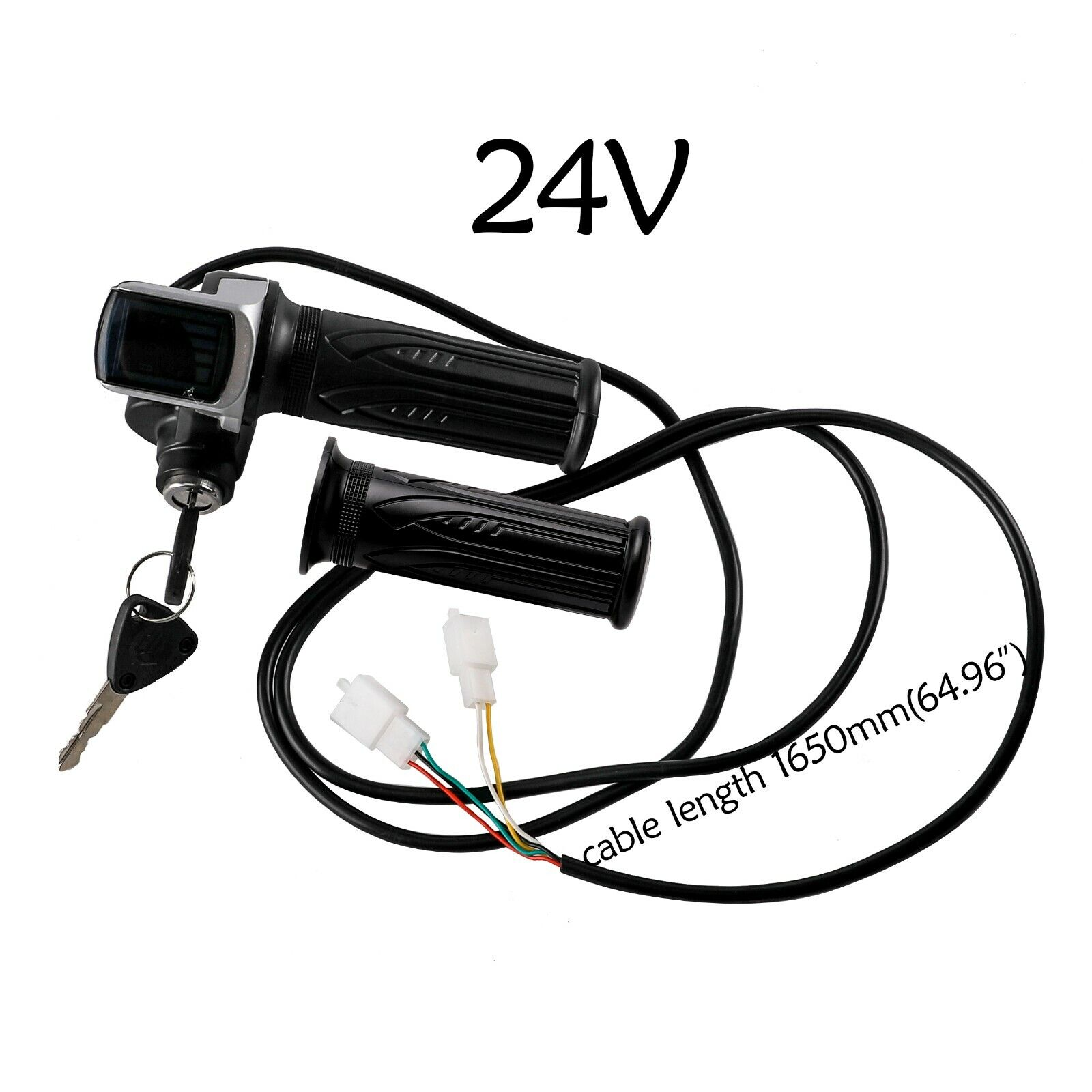24V Twist Throttle Grips w/ Electric Key Lock Power indicato