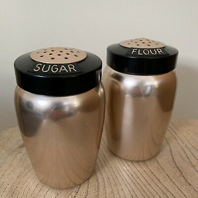 VINTAGE 1950s Copper KROMEX Sugar Flour SHAKERS Kitchenalia BAKING Mid Century