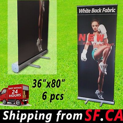 6 Pcs36x 80 Retractable Banner Standroll Up Trade Show Pop Up Display Stand