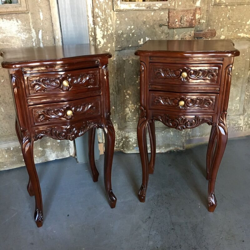 Pair Mahogany French Country Nightstands W/ Two Drawers Gold Hardware