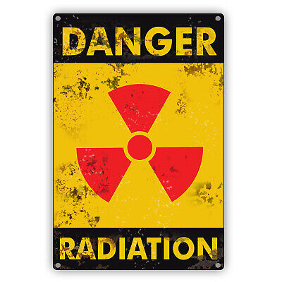 Danger Radiation Contaminated Area Keep Out Restricted Retro Vintage Metal Sign