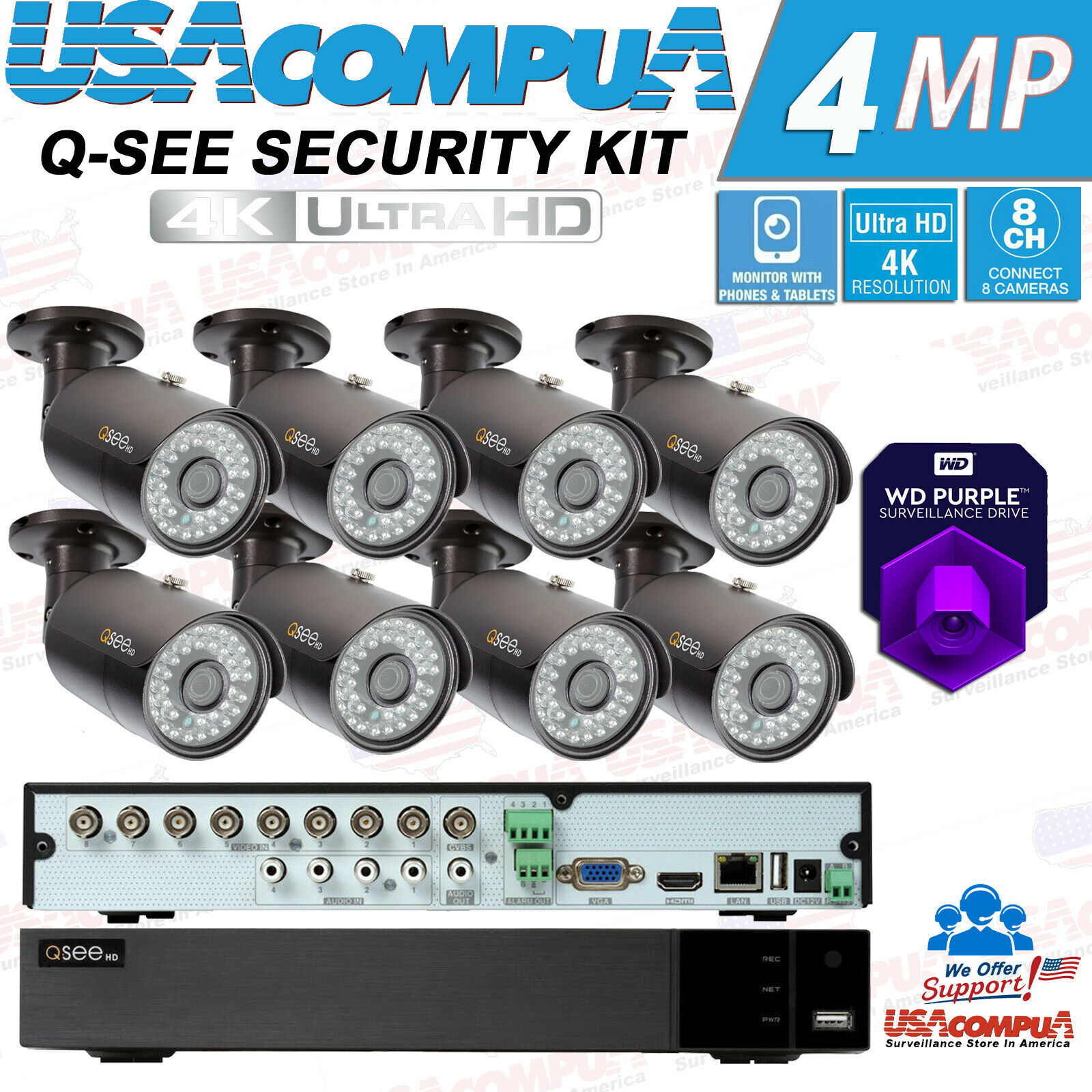 Q-See 8 Channel 4K 5MP Analog DVR  Security Cameras System