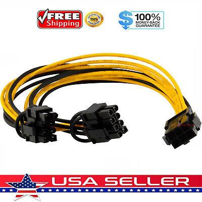 PCI-E 6-pin to 2x 6+2-pin (6-pin/8-pin) Power Splitter Cable PCIE PCI Express US