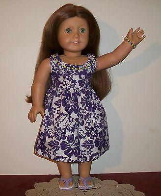 Aloha Dress - Handmade for American Girl Kanani Doll in Purple & White And Shoes