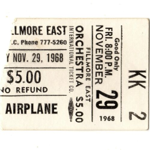 JEFFERSON AIRPLANE & BUDDY GUY Concert Ticket Stub NYC 11/29/68 FILLMORE EAST