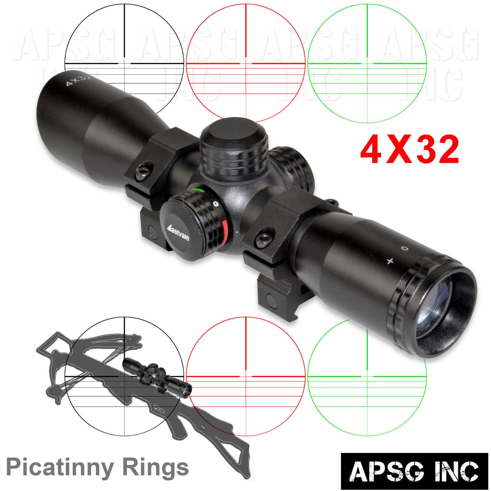 4X32 CROSSBOW Scope w/ Picatinny Rings,Reticle Illumination,