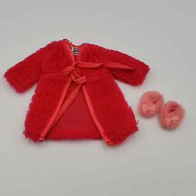 1969 Vintage Barbie Dream Red Fluff robe and slippers