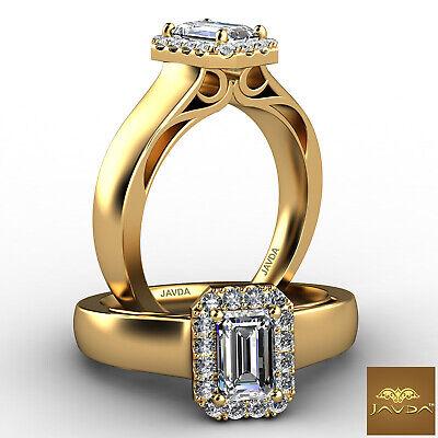Halo Filigree Shank Emerald Diamond Engagement French Pave Ring GIA G VS1 0.7Ct