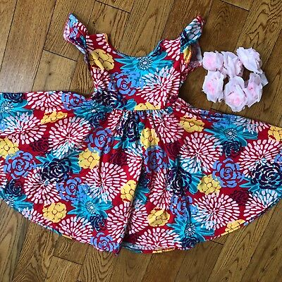 NWT Dot Dot Smile Twirly Summer dress Girls Empire Floral Red   ](Floral Girls)