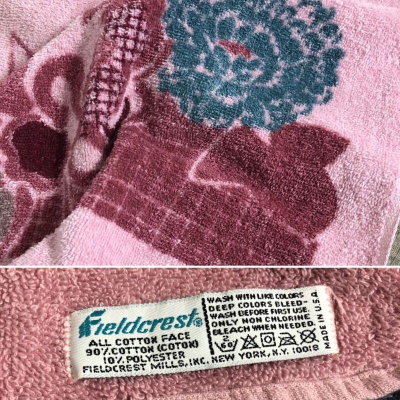 Vintage Fieldcrest Mauve / Pink Floral Hand Towel USA