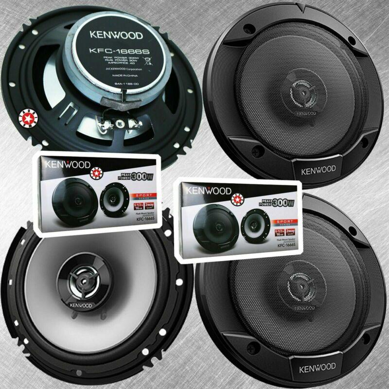 2 Pair Kenwood KFC-1666S 6.5 Inch 300 Watt 2-Way Car Audio Door Coaxial Speakers