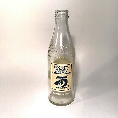 Vintage Coca-Cola Coke Bottle Commemorative 75th Anniversary 1975