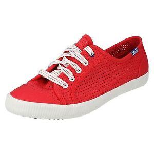 Mujer-Keds-Famosos-Perf-CVS-Rojo-Cordones-Zapatillas-wf43995