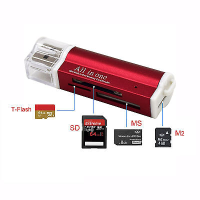Kartenlesegerät Kartenleser Card Reader Micro SD MMC M2 USB Stick in rot online kaufen