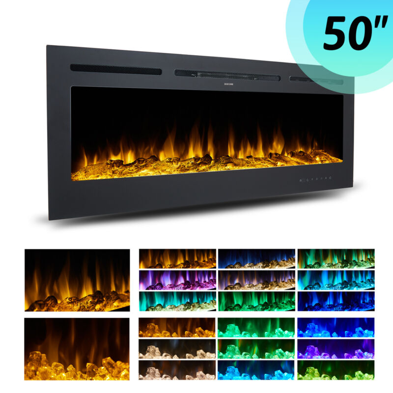 """50"""" Electric Heater Recessed or Wall Mounted Fireplace Insert w 9 Flame Colors"""