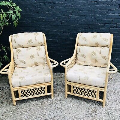 Pair Of Light Rattan Armchairs Excellent Con Conservatory Furniture Boho Braided