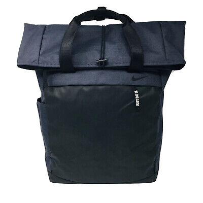 Nike Nylon Fold Over Clasp Backpack Blue Black