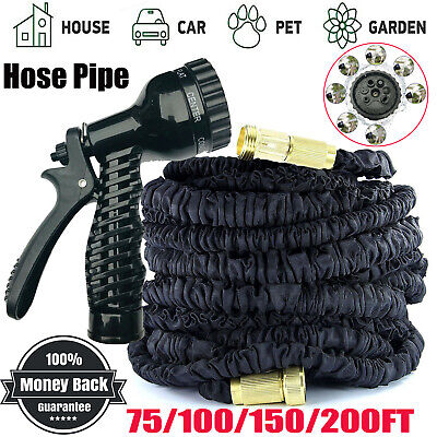 EXPANDABLE GARDEN HOSE FLEXIBLE 75/100/150/200FT PIPE EXPANDING WITH SPRAY BLACK