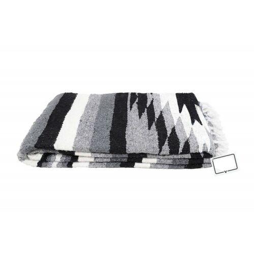Mexican Blanket Vintage Style Black Grey White Diamond Thick Yoga Serape Large