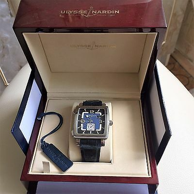 Ulysse Nardin Steel Quadrato Dual Time 243-92 With Box & Papers 42mm Mens Watch