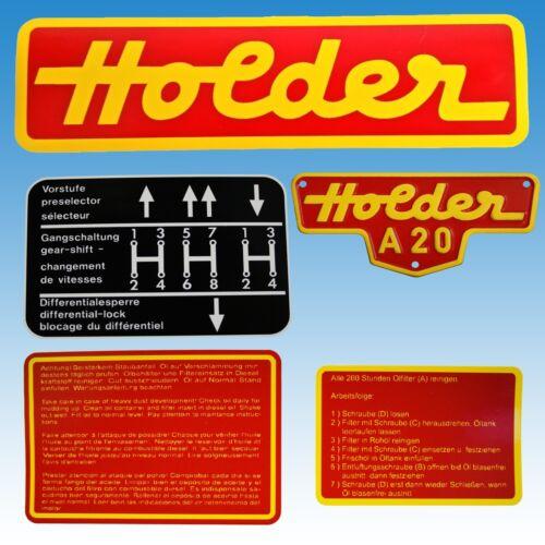Aufkleber - Satz Holder A 20 mit Blech-Typenschild 5-teilig Traktor 01584 Foto 1