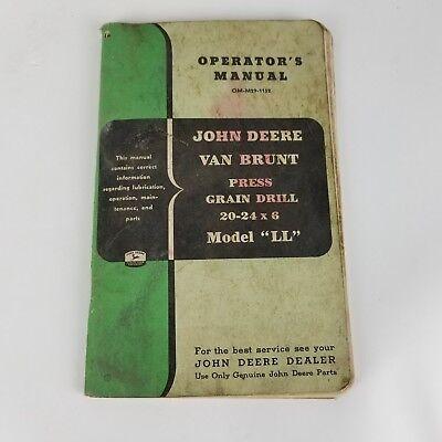 Vintage John Deere Operators Manual Model Ll Van Brunt Press Grain Drill 20 24 6
