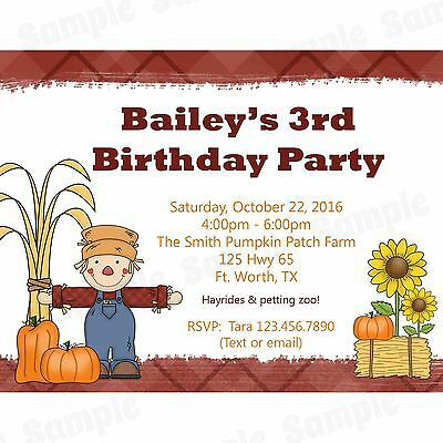 20 Personalized Birthday Invitations - Fall Party - Pumpkin Patch Party