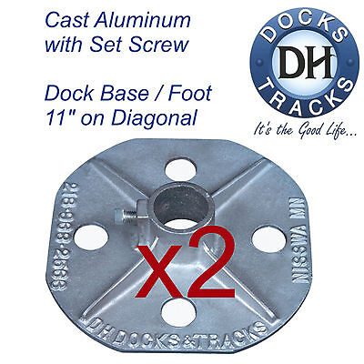 (2 Boat dock base, foot, stand, pad. Aluminum dock hardware. Pier stand stanchion)
