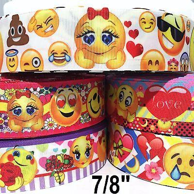 Ribbon Emoji (5 Yard mixed lot - Grosgrain Ribbon 7/8