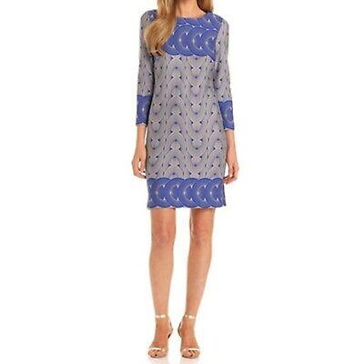 New NWT Taylor Dresses Chain Print Blue Gray Boat Neck Shift Dress 2