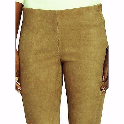 NWT RALPH LAUREN Women's Lamb Leather Suede Tan Skinny PANTS Leggings Sz 2 $898