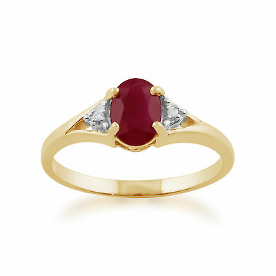 9ct Yellow Gold 0.95ct Natural Ruby & Diamond Classic Single Stone Ring Size