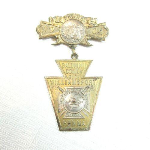 1904 Knights Templar 29th Triennial San Francisco Conclave Medal Williamsport 22