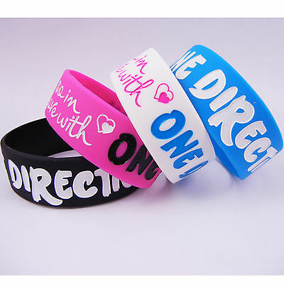 One Direction Wristband - 4X I LOVE ONE DIRECTION SILICONE BRACELET Rubber WRISTBAND Muti-color