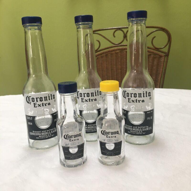 Lot Of 5 Corona Salt & Pepper Shakers 7 oz & Miniatures