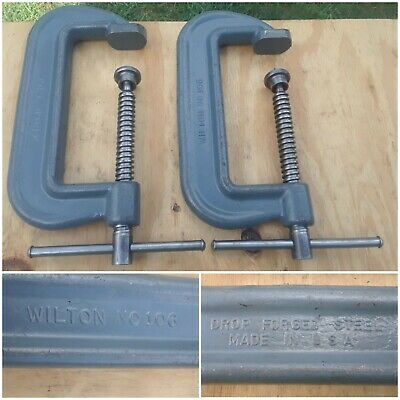Vintage 2 Wilton C Clamps Vise No 106 Heavy Duty Tools Orig Gray Made In Usa