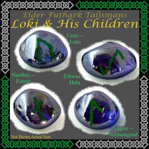 Elder Runes Talismans: Loki & His Children: Hela Fenrir Jormungand snake wolf