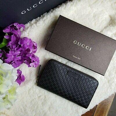 NWT Gucci Wallet Dark Brown Microguccissima Leather Zip Around