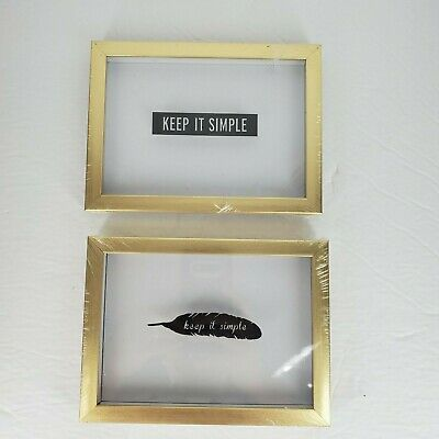 "New Home Wall Wooden Decorative ""keep it simple"" on the Feather Design Lot of 2"