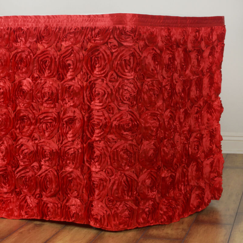 21 feet Red SATIN ROSES TABLE SKIRT Tradeshow Wedding Party Catering Supplies