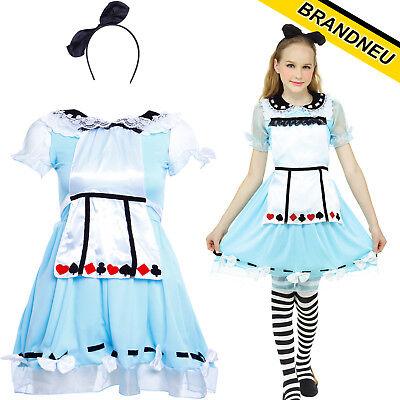 Kinder Kostüm Alice im Wunderland Kostüm Outfit Karneval Halloween Fasching
