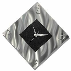 ULTRA COOL Modern Metal Wall Clock Art Silver Black Abstract SIGNED Jon Allen