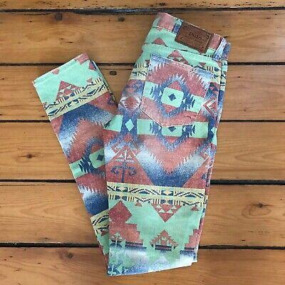 Polo Ralph Lauren Navajo Aztec Southwestern Tompkins Skinny Jeans Sz 28 EUC
