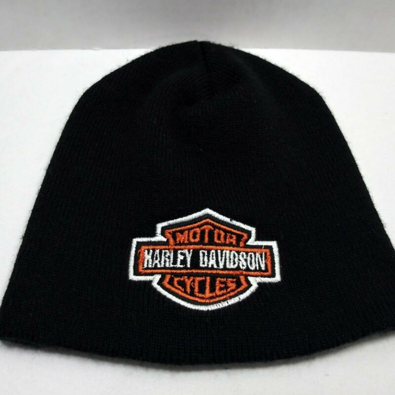 Harley Davidson Black Embroidered Winter Scully Beanie Hat NWOT Emblem Logo Cap