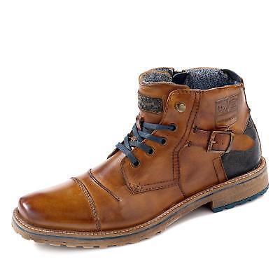 Herren Glatt Leder Stiefel (Bugatti Herren Stiefelette Schnürer Stiefel Schuhe Glattleder Profilsohle cognac)